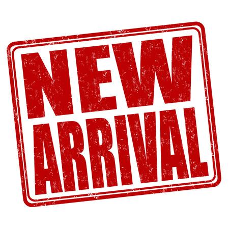 Nuovo timbro di arrivo grunge gomma su sfondo bianco, illustrazione vettoriale Archivio Fotografico - 34689207