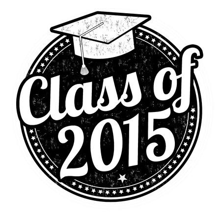schulklasse: Class of 2015 Grunge Stempel auf wei�, Vektor-Illustration