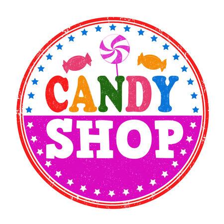 candy shop: Candy shop grunge rubber stamp on white background, vector illustration Illustration