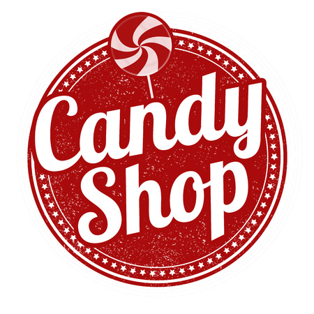 Candy shop grunge rubber stamp on white background, vector illustration Illustration