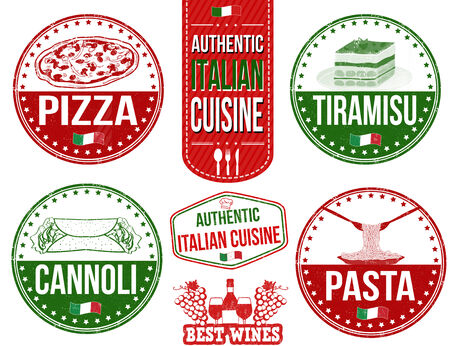 wines: Set of grunge rubber stamps with authentic italian food, vector illustration Illustration