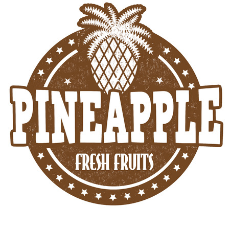 inspected: Pineapple grunge rubber stamp or label on white, vector illustration