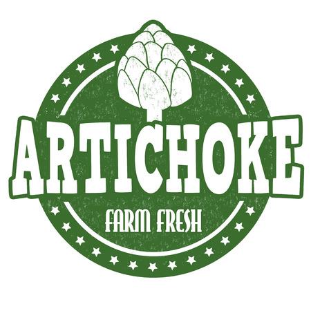 Artichoke grunge rubber stamp or label on white, vector illustration Illustration
