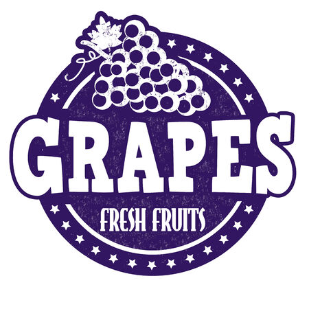 inspected: Grapes grunge rubber stamp or label on white, vector illustration