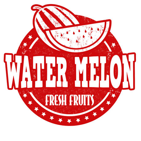 inspected: Water melon grunge rubber stamp or label on white, vector illustration