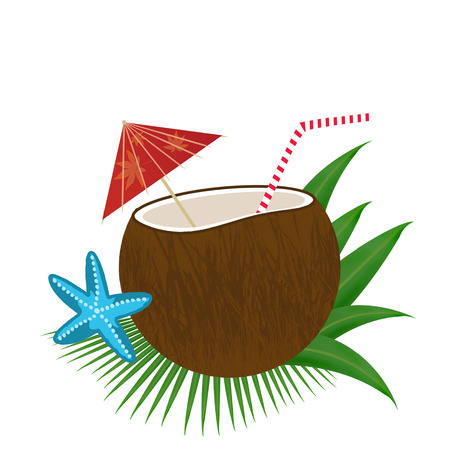 summer diet: Coconut cocktail on white background, vector illustration