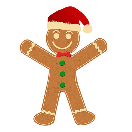 dainty: Gingerbread Man with Santa Hat on white background, vector illustration Illustration