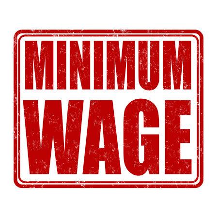 minimum wage: M�nimo sello de goma del grunge de salarios en el fondo blanco, ilustraci�n vectorial