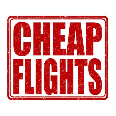 cheap: Cheap flights grunge rubber stamp on white background, vector illustration Illustration