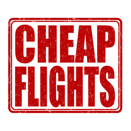 Cheap flights grunge rubber stamp on white background, vector illustration Illustration
