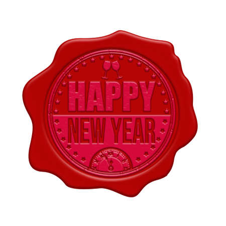 waxseal: Happy New Year red wax seal isolated on white background, vector illustration Illustration