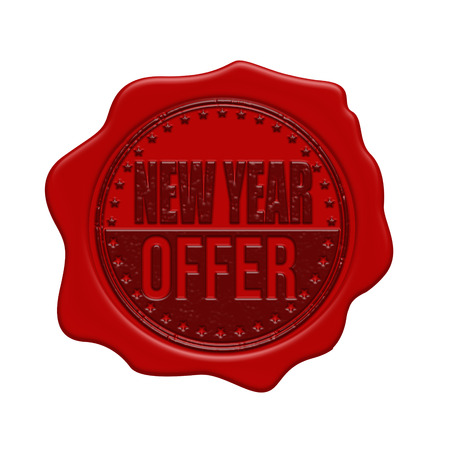 waxseal: New Year offer red wax seal isolated on white background, vector illustration