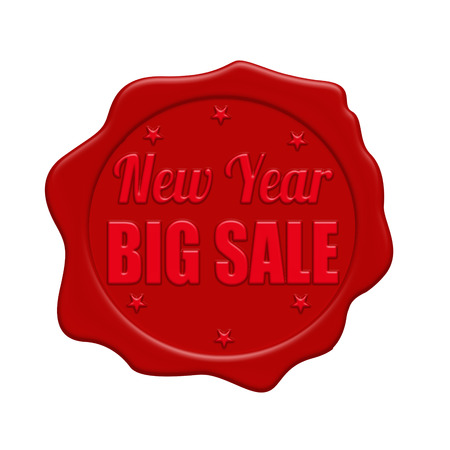 New Year big sale red wax seal isolated on white background, vector illustration