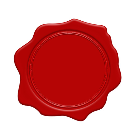 wax stamp: Red wax stamp on a white background, vector illustration