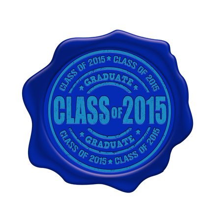 Class of 2015 blue wax seal isolated on white background, vector illustration