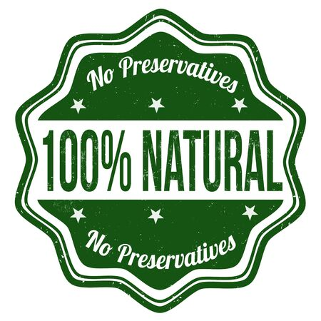 100% natural grunge rubber stamp on white background Vector
