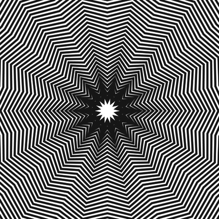Abstract, hypnotic background on black and white