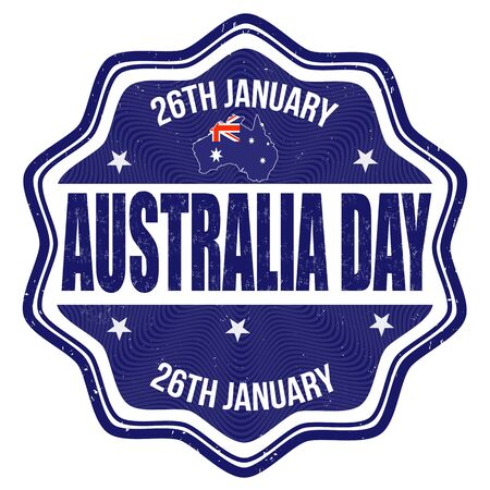 australia: Australia day grunge rubber stamp on white background