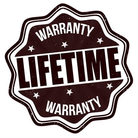 Lifetime warranty grunge rubber stamp on white background Illustration