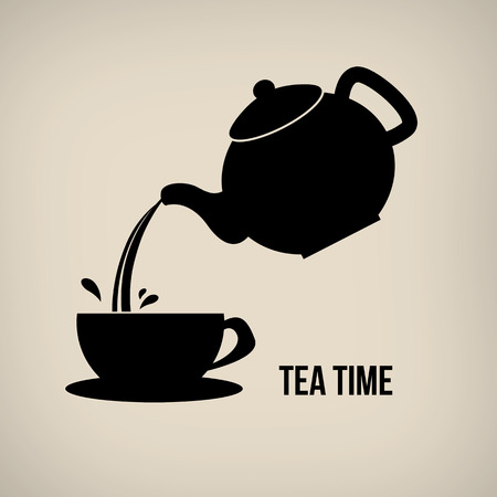 Tea time icon in vintage style poster with teapot and cup Illustration