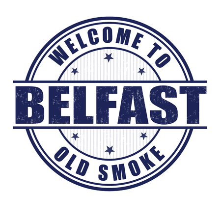 belfast: Welcome to Belfast, Old smoke City grunge rubber stamp on white, vector illustration