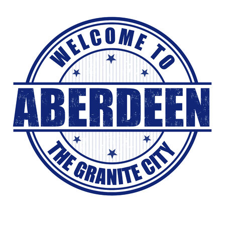 aberdeen: Welcome to Aberdeen, The Granite City grunge rubber stamp on white, vector illustration