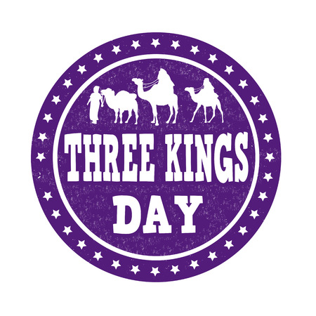 christ the king: Three Kings Day grunge rubber stamp on white background, vector illustration