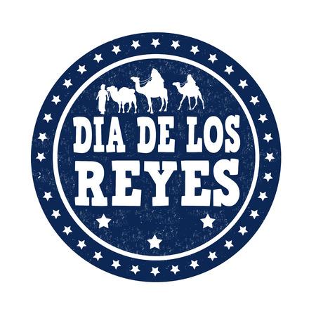 reyes magos: Día de Reyes (en español) grunge sello de goma en el fondo blanco, ilustración vectorial Vectores