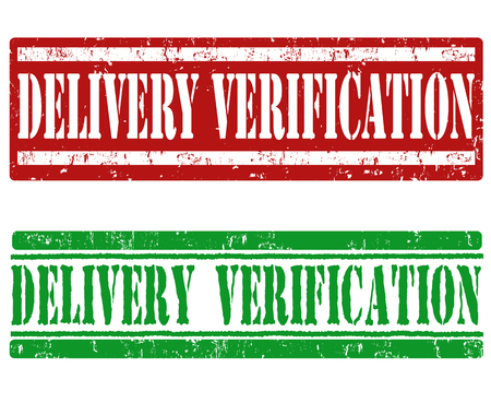 verification: Delivery verification grunge rubber stamps on white background, vector illustration