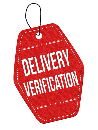 verification: Delivery verification red leather label or price tag on white background, vector illustration