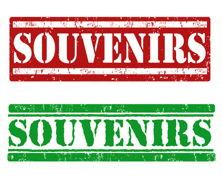 souvenirs: Souvenirs grunge rubber stamps on white background, vector illustration Illustration