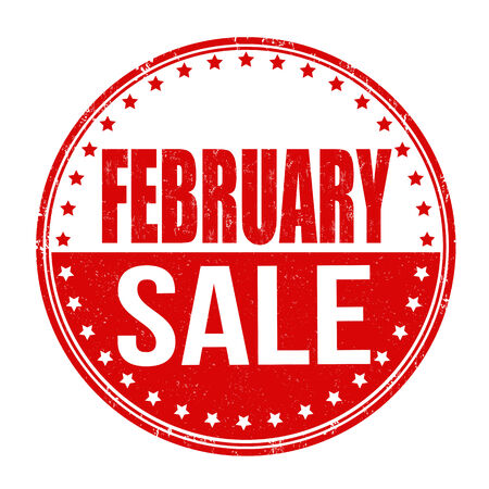 advertised: February sale grunge rubber stamp on white illustration Illustration