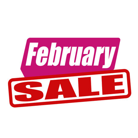 advertised: February sale grunge rubber stamp on white