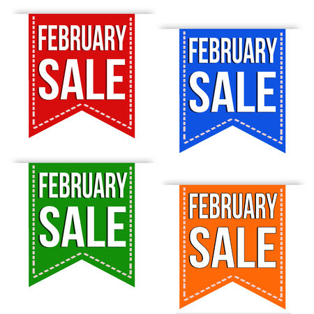 February sale banner design set over a white background Vector