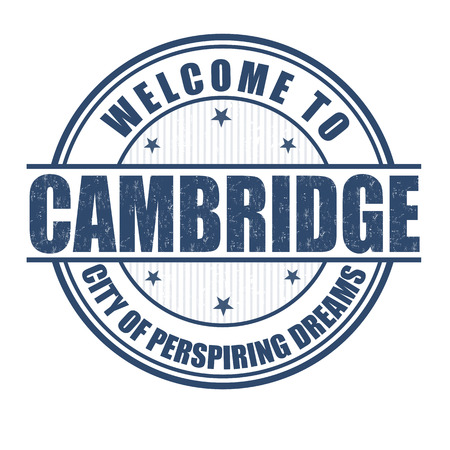 england map: Welcome to Cambridge, City of perspiring dreams grunge rubber stamp on white