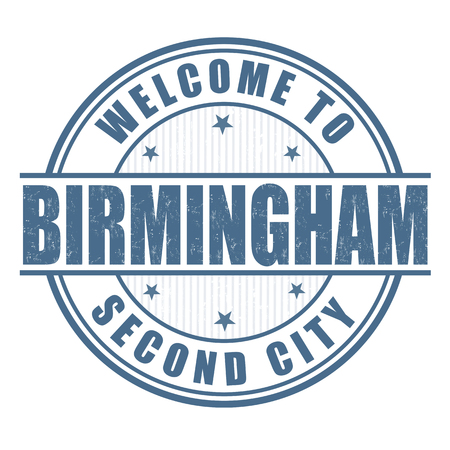 second: Welcome to Birmingham, Second City grunge rubber stamp on white Illustration