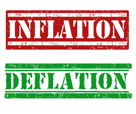 inflation: Inflation and Deflation grunge rubber stamps on white