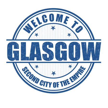 glasgow: Welcome to Glasgow, Second City of the empire grunge rubber stamp on white Illustration
