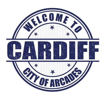 wales: Welcome to Cardiff, City of arcades grunge rubber stamp on white