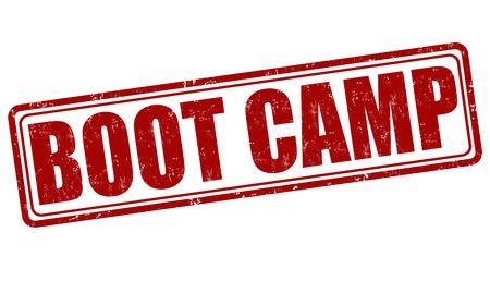 campamento: Boot Camp grunge sello de goma en el fondo blanco, ilustración vectorial
