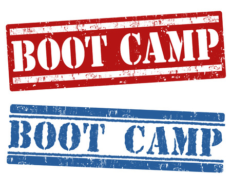 Boot camp grunge rubber stamps on white background, vector illustration Illustration