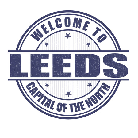 leeds: Welcome to Leeds, Capital of the North grunge rubber stamp on white, vector illustration Illustration