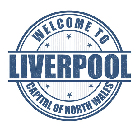 liverpool: Welcome to Liverpool, Capital of North Wales grunge rubber stamp on white, vector illustration