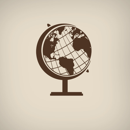 terrestrial: Earth globe icon in vintage style poster, vector illustration