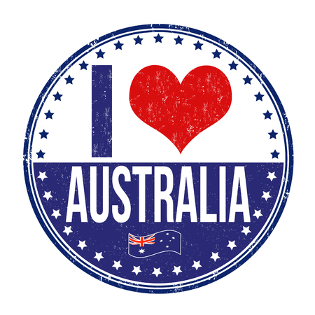 australia stamp: I love Australia grunge rubber stamp on white background, vector illustration
