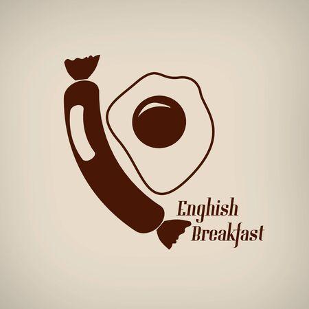 english breakfast: English breakfast  icon in vintage style poster, vector illustration