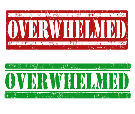 traumatic: Overwhelmed grunge rubber stamps on white background, vector illustration