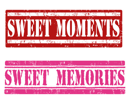 moments: Sweet moments and sweet memories grunge rubber stamps on white background, vector illustration