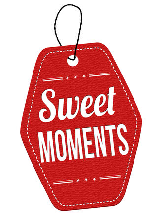 leather label: Sweet moments red leather label or price tag on white background, vector illustration Illustration