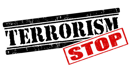 terrorism: Stop terrorism grunge rubber stamp on white background, vector illustration